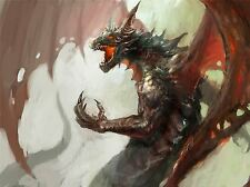 ART PRINT POSTER PAINTING DRAWING FANTASY DRAGON MONSTER FIRE WINGS LFMP1036