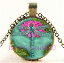 Vintage Dragonfly And Water Lily Cabochon Glass Bronze Pendant Necklace#A51
