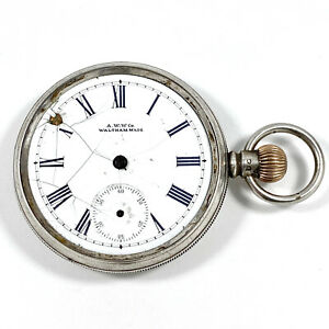Sterling Silver Pocket Watch Waltham Movement With Dennison Case 1905 Gold Crown
