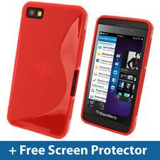 Red Dual Tone TPU Gel Case for BlackBerry Z10 Cover Skin Holder Shell Bumper