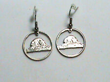 Hand Cut Canada with a Beaver nickels made into earrings