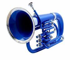 Euphonium Blau & Nickel Farbe 3 V Messing BB Flach Zoll Chopra M/P & Tasche 10/