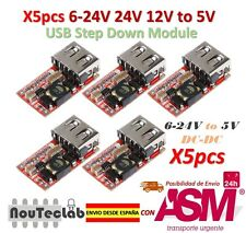 5pcs 6-24V 24V 12V to 5V USB Step Down Module DC-DC Converter