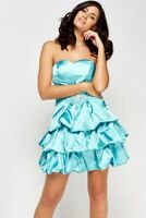 BN MINT GREEN PARTY PROM DRESS SIZE 10 JEWELLED BANDEAU SATIN RUFFLE