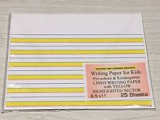 Writing Paper for Kids - Lined Writing Paper Yellow Highlighted Sectors