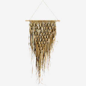 Triangular Woven Palm Leaf Dried Grass Wall Hanging, Large Rustic Boho Tropical