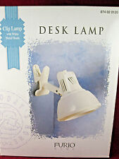 New in Box FURIO Clip-on Desk Lamp White with metal shade