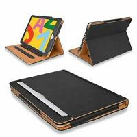 """Genuine BLACK & TAN Leather Smart Stand Case Cover For Apple iPad 9.7"""" 2017 2018"""