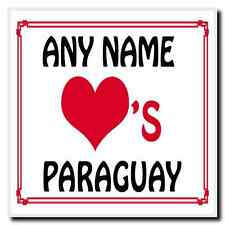 Love Heart Paraguay Personalised Coaster
