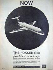 Vintage FOKKER 'F.28 Fellowship' Aircraft Advert - Original 1964 Print Ad