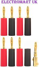 8 X 4MM SPEAKER LOUDSPEAKER GOLD BANANA PLUGS CABLE WIRE SCREW TERMINALS