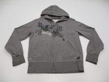 HURLEY K3373 Women's Size M Full Zip Logo Cotton Gray Skater Hoodie Sweater