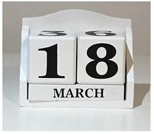 Date and Month White wooden Perpetual Block Desk top calender