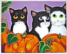 ORIGINAL OOAK ACRYLIC PAINTING BY G TOTO MYSELF BLACK CATS HALLOWEEN CANVAS