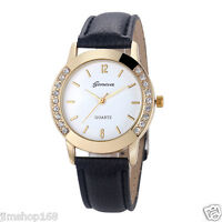 Fashion Women Watches Diamond Leather Stainless Steel Analog Quartz Wrist Watch