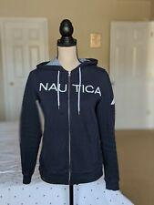 Nautica Women's Signature Logo Full Zip Hoodie Sweatshirt Size Small Navy Blue