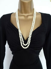 Lovely Long rope necklace Glass  pearls look nd feel genuine Bridal Prom Wedding