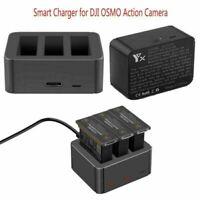 Für DJI OSMO Action Kamera 3 Akkus Fast Smart Ladegerät USB Ladestation Zubehör