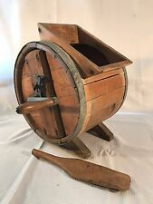 Antique Primitive Vintage Wood Barrell Hand Crank Butter Churn with Paddle