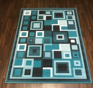 LUXURY QUALITY MODERN RUGS NEW SQUARE DESIGN LARGE 160CMX230CM TEAL GREY HOME