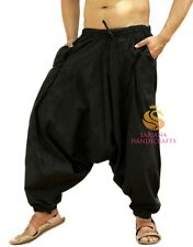 Indian Men's Black Cotton Harem Pants Trouser Genie Yoga Pajama Hippie Unisex