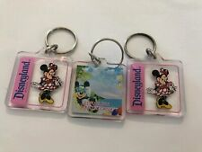 DISNEY Disneyland Clear Plastic MICKEY MINNIE MOUSE Key Chain Lot Keychain EUC