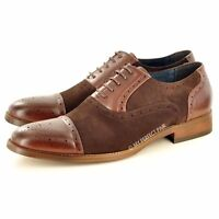 Mens Leather Lined Toe Cap Brogue Formal Lace Up Office Shoe Size 7 8 9 10 11 12