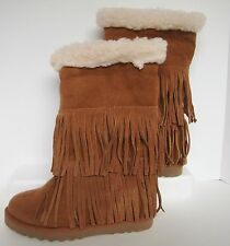 Bohemian Suede Fringe Brown Boots Womens 6 Fur Lined Madden Girl