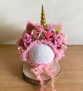 Sitter Size Floral Bonnet - Photography Photo Shoot Prop Baby Unicorn Pink Gold