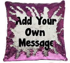 Personalised Any Text/Photo Reveal Sequin Cushion Cover Blue/Pink, Gift - Custom