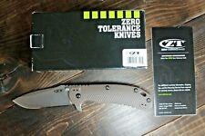 """Zero Tolerance Hinderer 0561 Knife Dark Earth G10 (3.75"""" Stonewash) ZT"""