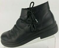Rieker Ankle Boots Comfort Elastic Black Leather Lace Up Booties Womens 39 8.8.5
