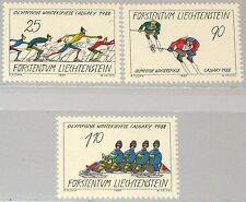 LIECHTENSTEIN 1987 934-36 877-79 Winter Olympics 1988 Calgary Skiing Bodsled MNH
