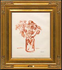 Robert Kulicke Original Color Ink Drawing Hand Signed Modern Still Life Frame