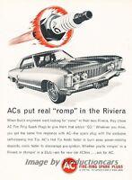 1963 Buick Riviera AC Spark Plugs Original Advertisement Print Art Car Ad J784