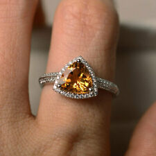2.10 Ct Trillion Cut Citrine Diamond Wedding Ring 925 Sterling Silver Size P