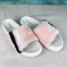 $570 PRADA Pink Striped Fur Platform Slip On Slides Sandals Women's SZ 39 SALE!