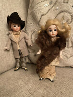 Extraordinary & Rare Antique All Original Pair All Bisque Mignonette Type Dolls