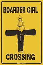 Boarder Girl Crossing Snowboarding Aluminum Metal Traffic Road Street Sign