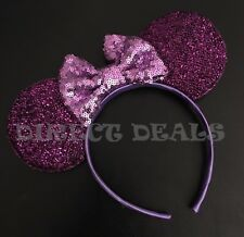 Minnie Mouse Purple Ears Headband Big Lavender Sequin Bow Costume Birthday Party