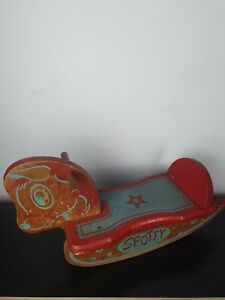 Vintage low ground spotty decorative wooden Rocking Horse. Childrens toy.