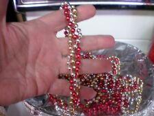Christmas Garland Small Red silver Gold Twisted beads Approx 9 Ft