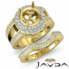 Round Pave Diamond Engagement Ring 14k Gold Yellow Wedding Bridal Setting 2.25Ct