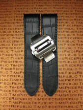 23mm Black Leather Strap Watch Band Buckle Set Large Santos 100 XL 38mm X