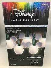 Disney Mickey Mouse Ears LED 25 White Christmas String Lights Shimmering 24' NEW