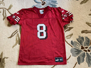 Vintage Steve Young San Francisco 49ers 8 PUMA Football Jersey Red Youth Large L