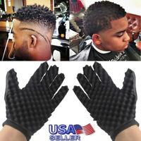 2PCS Fashion Curls Coil Magic Tool Wave Barber Hair Brush Sponge Gloves US Stock