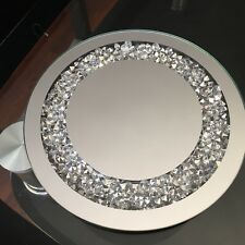 CRUSHED JEWELS DIAMANTE MIRRORED CANDLE PLATE CENTREPIECE WEDDING TABLE bling