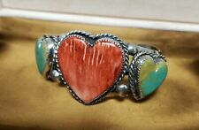antique Navajo  Sterling Silver Spiny Oyster Cuff Bracelet 3 hearts