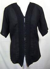 Gr.42 Kurzarmbluse m.Borte eingefasst Schwarz Elegante Damen-Blusen Event-Bluse